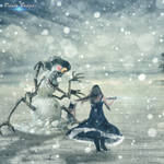 Monster snows and the warrior