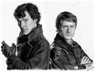 Sherlock Holmes and John Watson by FinAngel