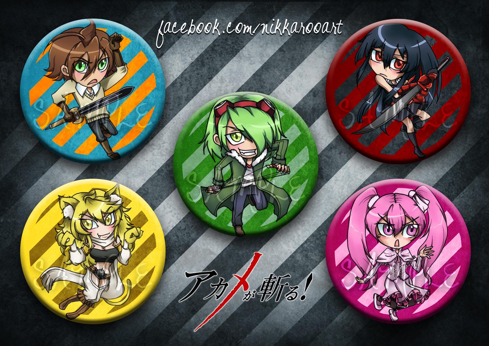Button Badges: Akame ga Kill by nikkaroo