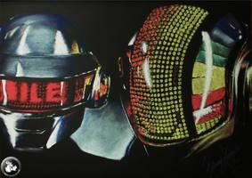 daft punk helmets (pastel drawing) by KondaArt