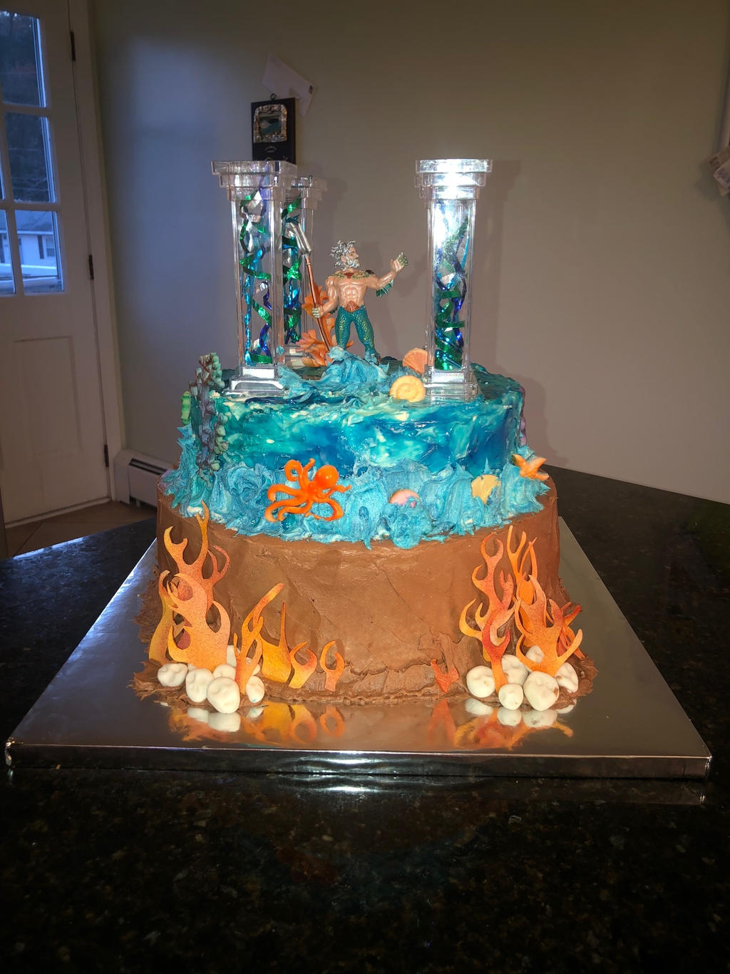 Bottom Layers of percy jackson cake