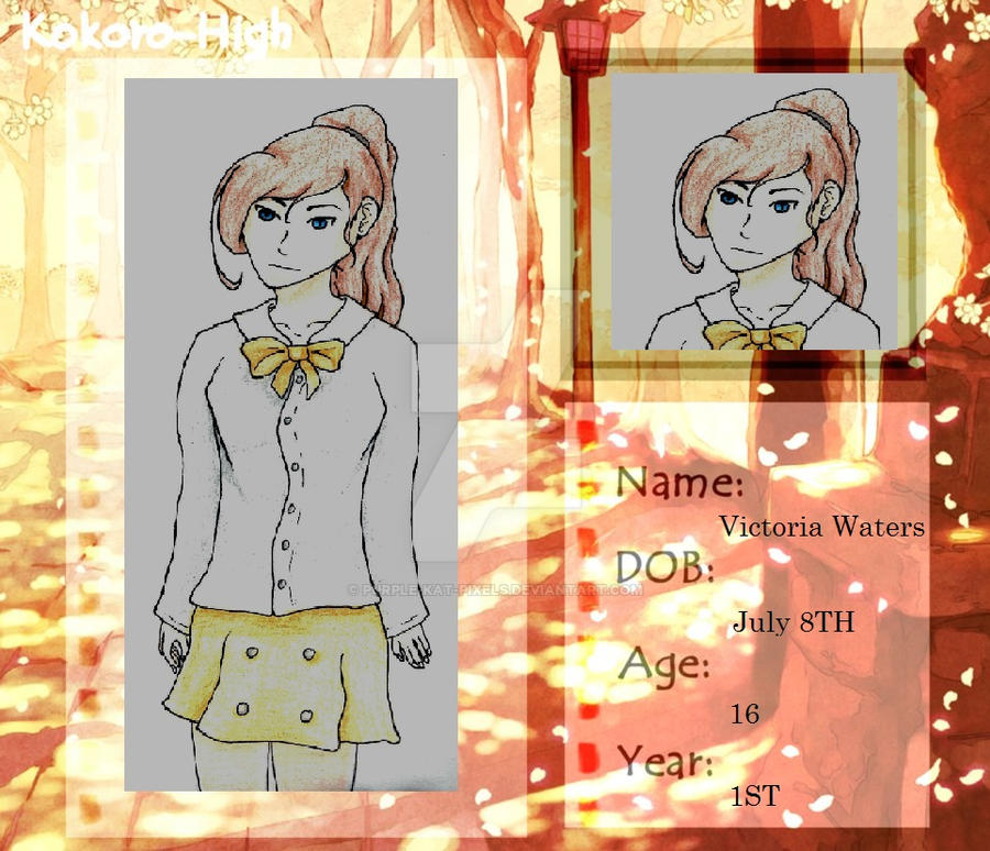Kokoro High app - Victoria Waters by Purple-kat-pixels