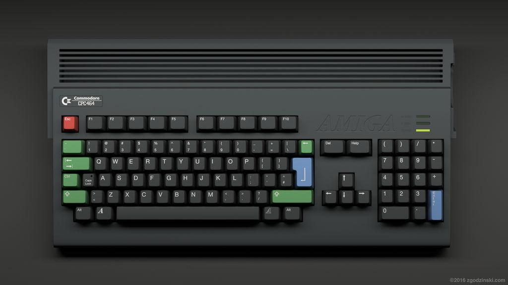 Amiga keboard in an iconic Amstrad CPC464 color sc