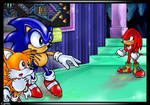 Knuckles vs Sonic and Tails inside Hidden Palace