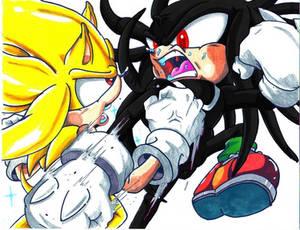 Super Sonic VS Dark Super Knuckles