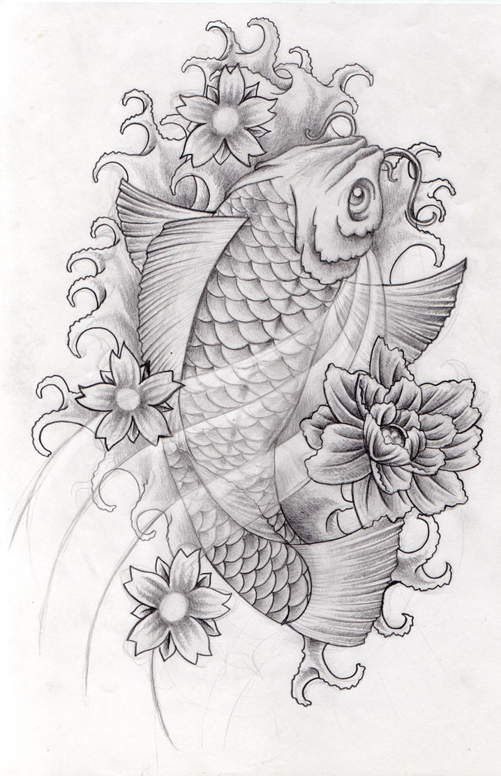 Corey tattoo design tattoo gallery by randall vaughan for Koi fish design