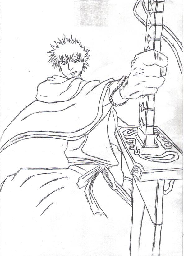 Ichigo LineArt by blackzero04