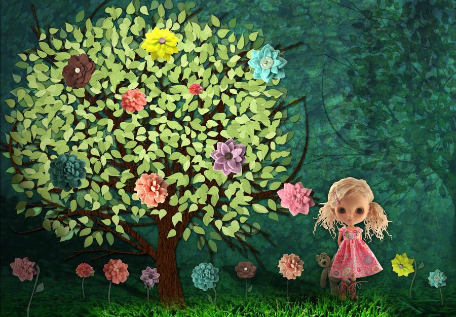 Felt Flower Tree by shusik