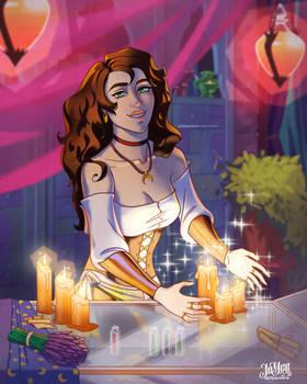 Magic shop scene illustration