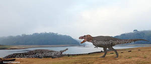 Tyrannosaurus Rex vs Deinosuchus