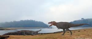 Tyrannosaurus Rex vs Deinosuchus by SameerPrehistorica