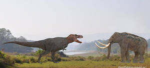 Tyrannosaurus Rex vs Steppe Mammoth by SameerPrehistorica