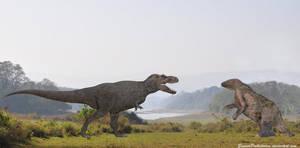 Tyrannosaurus Rex vs Megatherium by SameerPrehistorica