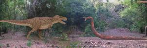 Tyrannosaurus Rex vs Titanoboa by SameerPrehistorica