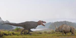 Tyrannosaurus Rex vs Elasmotherium by SameerPrehistorica