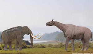 Paraceratherium vs Steppe Mammoth by SameerPrehistorica