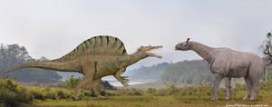 Spinosaurus vs Paraceratherium by SameerPrehistorica