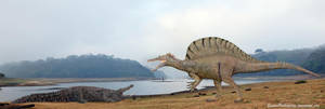 Spinosaurus vs Deinosuchus by SameerPrehistorica