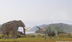 Steppe Mammoth vs Triceratops by SameerPrehistorica