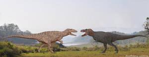 Carcharodontosaurus vs Tyrannosaurus Rex by SameerPrehistorica