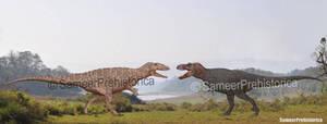 Carcharodontosaurus vs Tyrannosaurus Rex