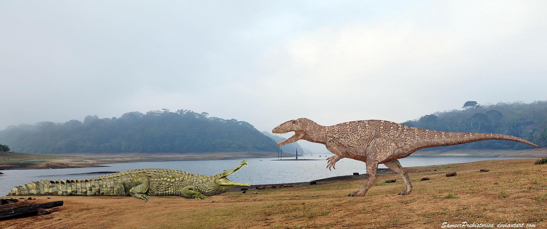 Sarcosuchus vs Carcharodontosaurus by SameerPrehistorica ...