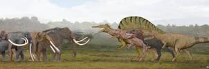 Proboscideans vs Theropods by SameerPrehistorica