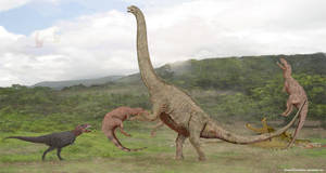 Argentinosaurus vs Theropods by SameerPrehistorica