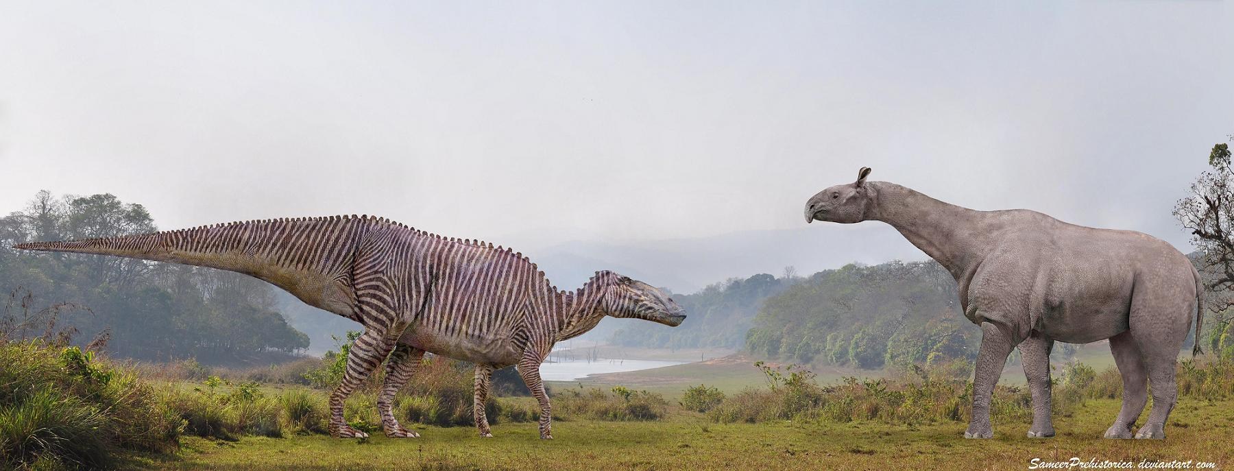 Shantungosaurus vs Paraceratherium by SameerPrehistorica