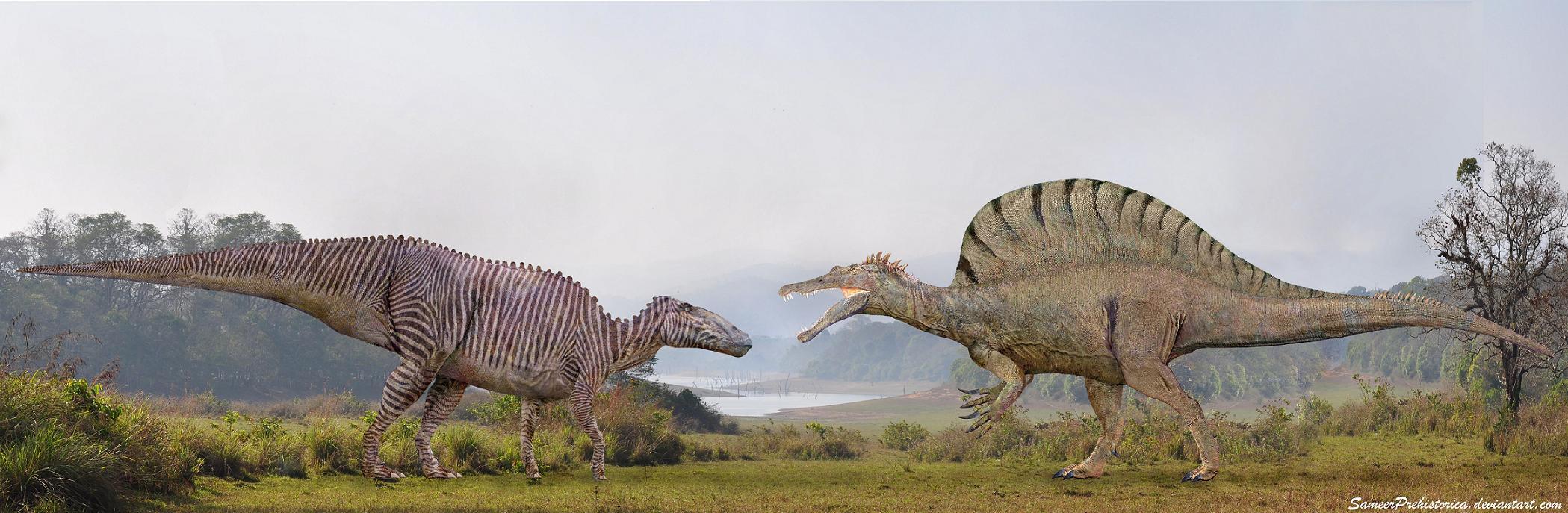Shantungosaurus vs Spinosaurus by SameerPrehistorica