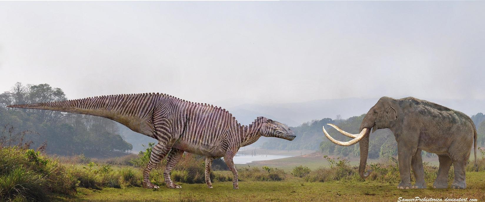 Shantungosaurus vs Steppe Mammoth by SameerPrehistorica on ...