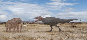 Woolly Mammoth vs Tyrannosaurus Rex by SameerPrehistorica