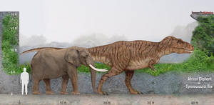 African Elephant and Tyrannosaurus Rex by SameerPrehistorica