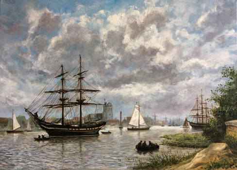 Zicht op Dordrecht met tweemaster