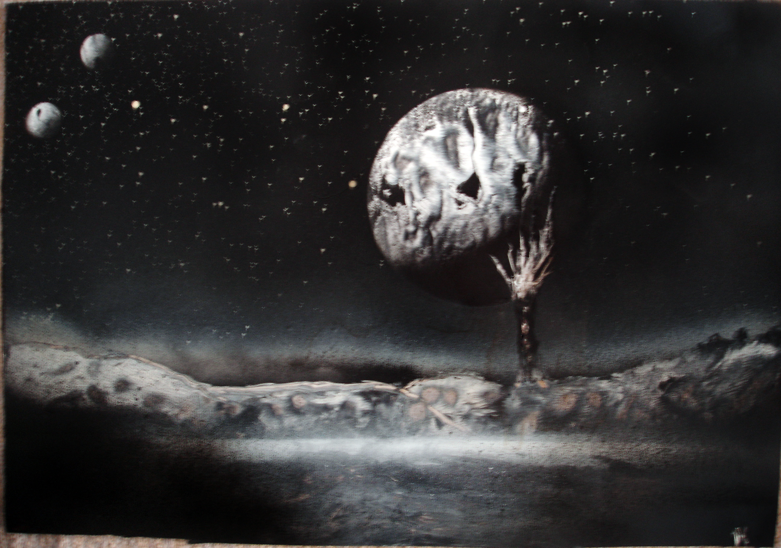 Black And White Space Painting By Nikos92 On Deviantart