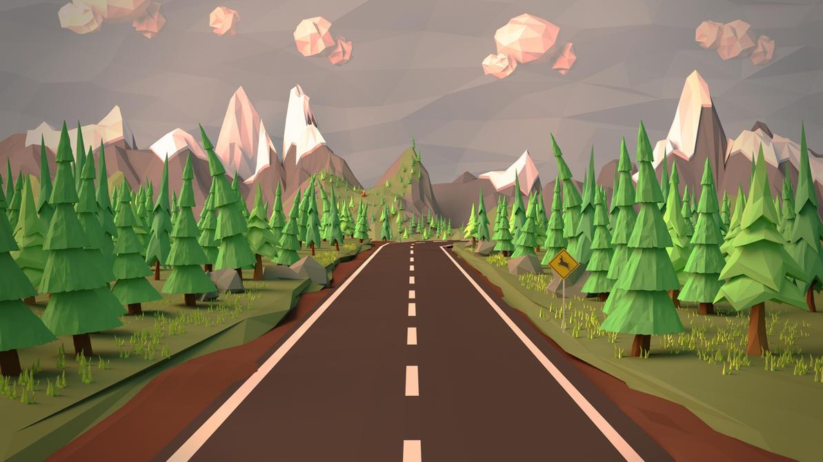 Open Road (Low Poly Wallpaper) by Leprekhaun