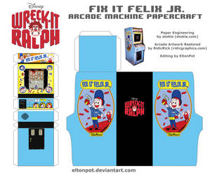Fix It Felix Jr. Arcade Papercraft by eltonpot