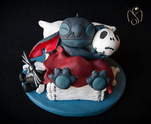 stitch and jack figurine - fimo polymer clay by gigamax64