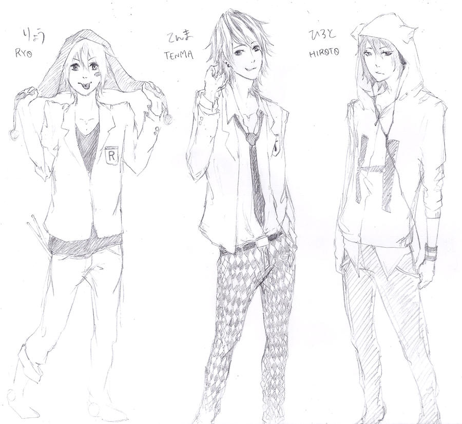 Anime Boy Character Design : Character design for my friend boys by yosshi on