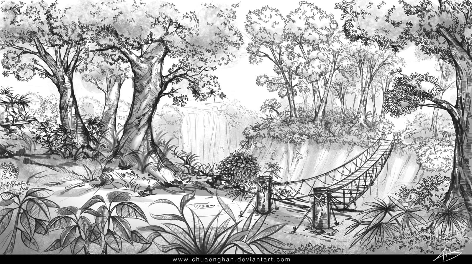 Line Drawing Jungle : Jungle sketch by chuaenghan on deviantart