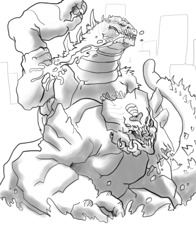 Godzilla vs Leatherback by Die-Laughing
