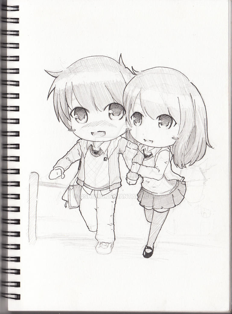 Sketch book chibi couple by qsholic