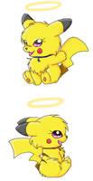 Pikachu B and Pikachu L by Vulpix-Alexa