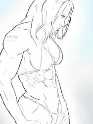 Lisa Bickels Pen Sketch by dr-robert420