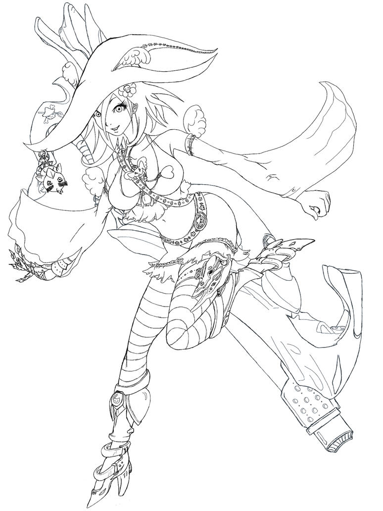 Line Drawing Of Witches Face : Techno witch min lineart by seipherzero on deviantart