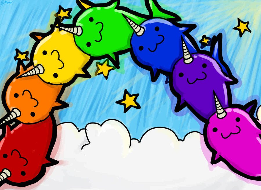 Rainbow Animated Narwhals Narwhal Rainbow by Ram...