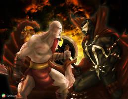 Kratos Vs Spawn by Gourmandhast