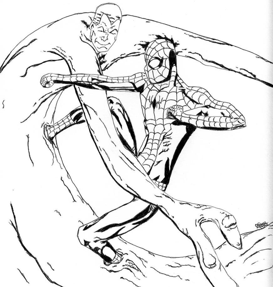 Spiderman vs Sandman ink by flashgirl101 on DeviantArt