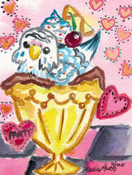 Budgie Parfait Blue and Pink by pixipatrin