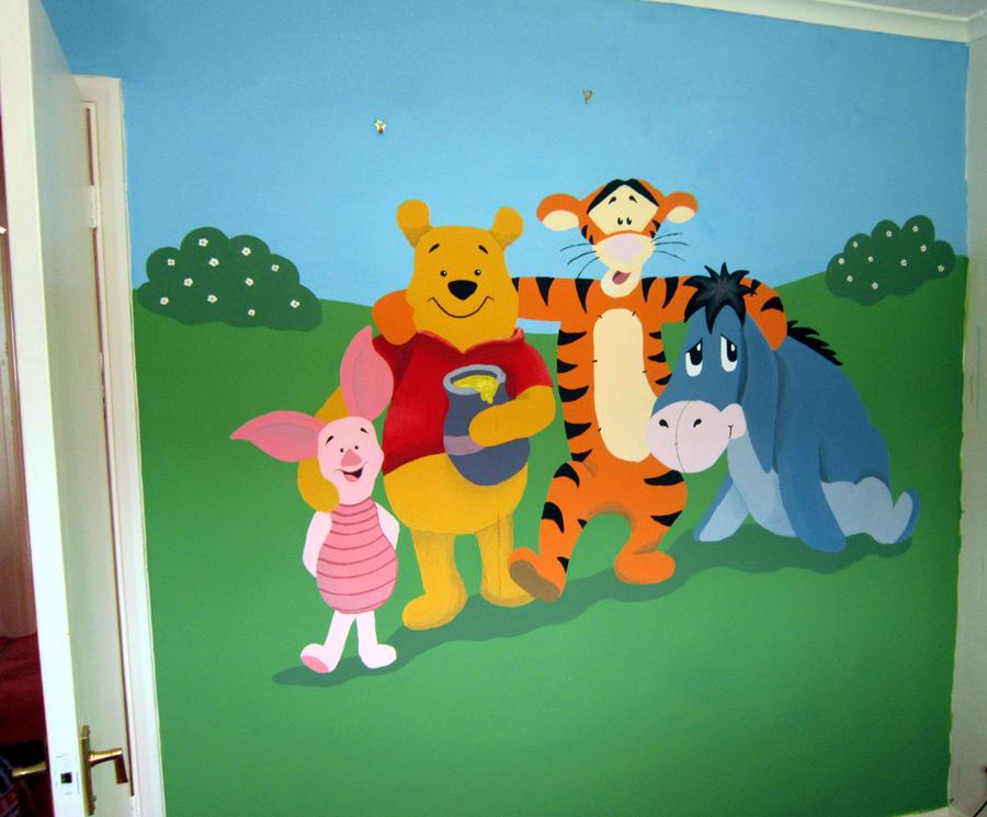 winnie the pooh bedroom mural by amazura on deviantart